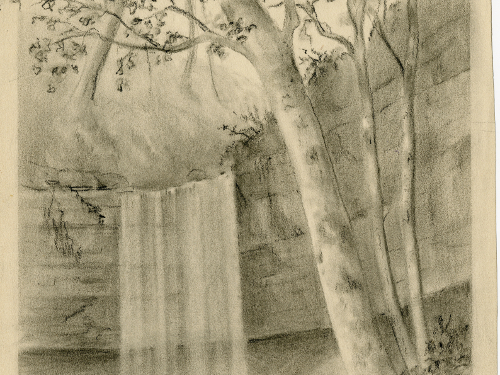 Drawing of a Waterfall in...